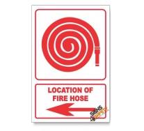Fire Hose, Arrow Left, Descriptive Safety Sign