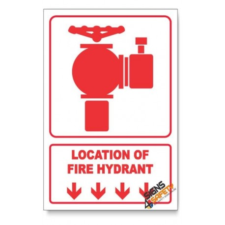 Fire Hydrant, Arrow Down, Descriptive Safety Sign