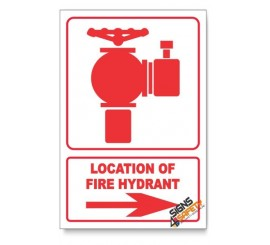 Fire Hydrant, Arrow Right, Descriptive Safety Sign