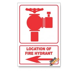 Fire Hydrant, Arrow Left, Descriptive Safety Sign