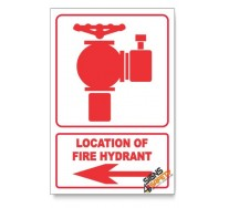 Fire Hydrant, Arrow Left, Descriptive Safety Sign
