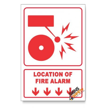 Fire Alarm, Arrow Down, Descriptive Safety Sign