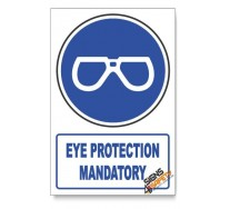 Eye Protection Mandatory, Descriptive Safety Sign