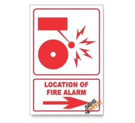 Fire Alarm, Arrow Right, Descriptive Safety Sign