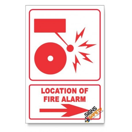 Fire Alarm, Arrow Right, Descriptive Safety Sign