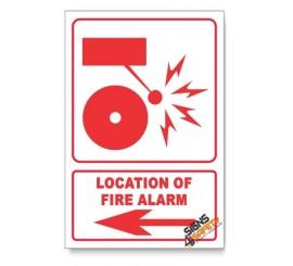 Fire Alarm, Arrow Left, Descriptive Safety Sign
