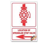 Sprinkler Stop Valve, Arrow Left, Descriptive Safety Sign