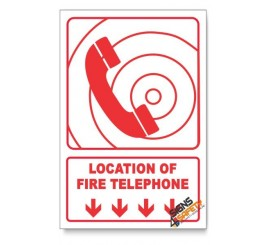 Fire Telephone, Arrow Down, Descriptive Safety Sign