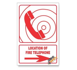 Fire Telephone, Arrow Right, Descriptive Safety Sign