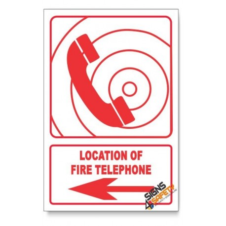 Fire Telephone, Arrow Left, Descriptive Safety Sign