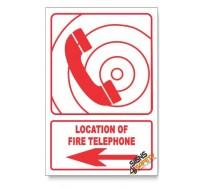 Fire Telephone, Arrow Left, Descriptive Safety Sign