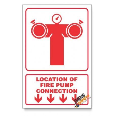 Fire Pump Connection, Arrow Down, Descriptive Safety Sign