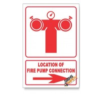 Fire Pump Connection, Arrow Right, Descriptive Safety Sign
