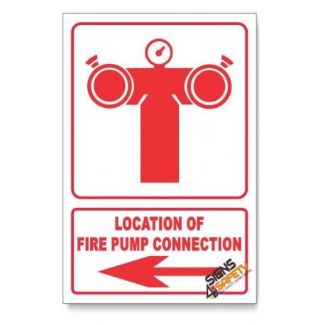 Fire Pump Connection, Arrow Left, Descriptive Safety Sign