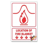 Location Of Fire Blanket, Arrow Down, Descriptive Safety Sign
