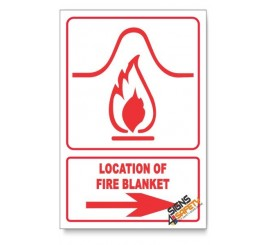 Location Of Fire Blanket, Arrow Right, Descriptive Safety Sign