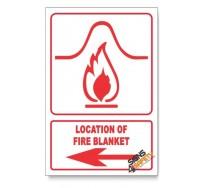 Location Of Fire Blanket, Arrow Left, Descriptive Safety Sign