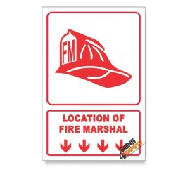 Fire Marshal, Arrow Down, Descriptive Safety Sign