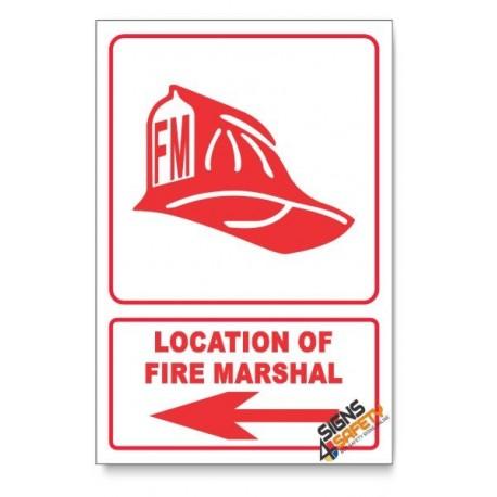 Fire Marshal, Arrow Left, Descriptive Safety Sign