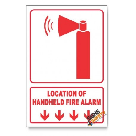 Handheld Fire Alarm, Arrow Down, Descriptive Safety Sign