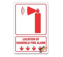 Handheld Fire Alarm, Arrow Down, Descriptive Safety Sign