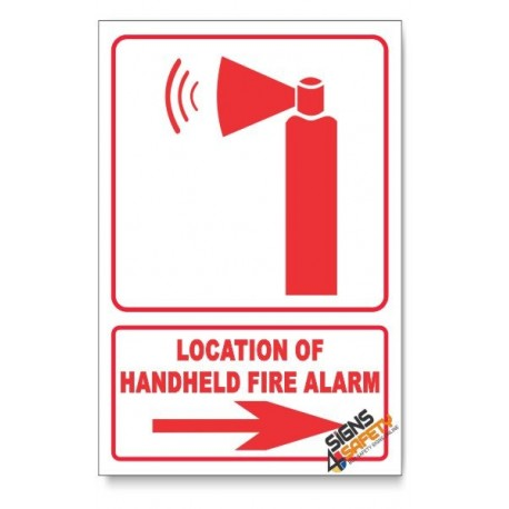 Handheld Fire Alarm, Arrow Right, Descriptive Safety Sign