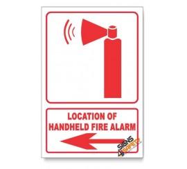 Handheld Fire Alarm, Arrow Left, Descriptive Safety Sign