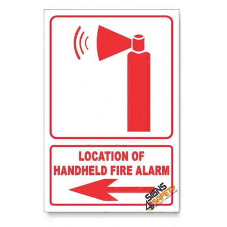 Handheld Fire Alarm, Arrow Left, Descriptive Safety Sign