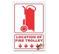 Fire Trolley, Arrow Down, Descriptive Safety Sign