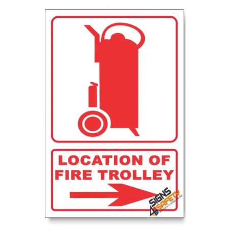 Fire Trolley, Arrow Right, Descriptive Safety Sign