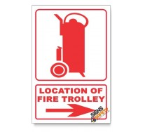 Fire Trolley, Arrow Right, Descriptive Safety Sign