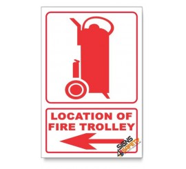 Fire Trolley, Arrow Left, Descriptive Safety Sign