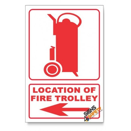 Fire Trolley, Arrow Left, Descriptive Safety Sign