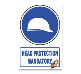 (MV3/D1) Head Protection, Descriptive Safety Sign