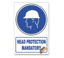 (MV3A/D1) Head Protection, Descriptive Safety Sign