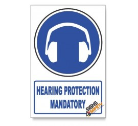 (MV4/D1) Hearing Protection, Descriptive Safety Sign