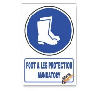 (MV6/D1) Foot And Leg Protection, Descriptive Safety Sign
