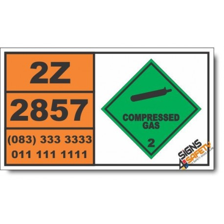 UN2857 Refrigerating machines, containing non-flammable, Compressed Gas (2), Hazchem Placard