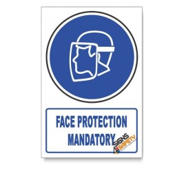 (MV10A/D1) Face Protection Mandatory, Descriptive Safety Sign