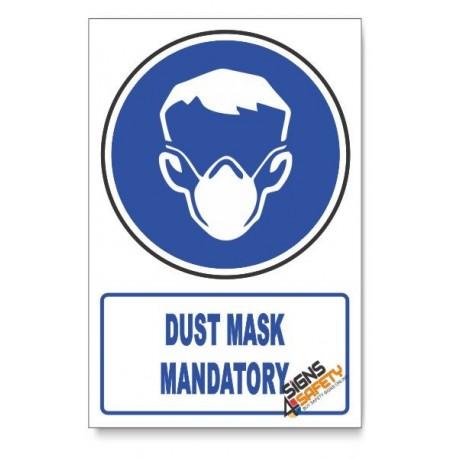 (MV12B/D1) Dust Mask Mandatory, Descriptive Safety Sign