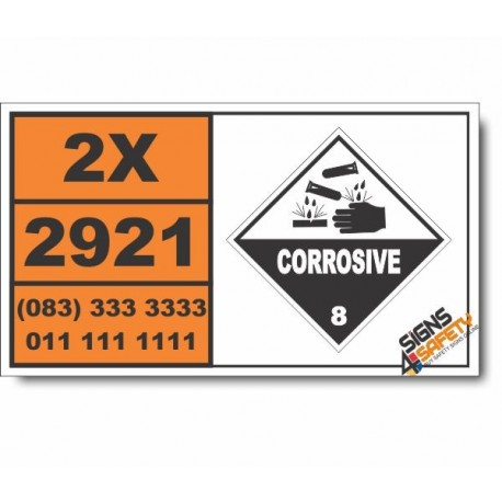 UN2921 Corrosive solids, flammable, n.o.s., Corrosive (8), Hazchem Placard