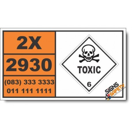UN2930 Toxic solids, flammable, organic, n.o.s., Toxic (6), Hazchem Placard