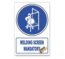 (MV15/D1) Welding Screen Mandatory, Descriptive Safety Sign