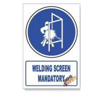 (MV15/D1) Welding Screen Mandatory, Descriptive Safety Sign