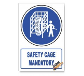 (MV16/D1) Safety Cage Mandatory, Descriptive Safety Sign