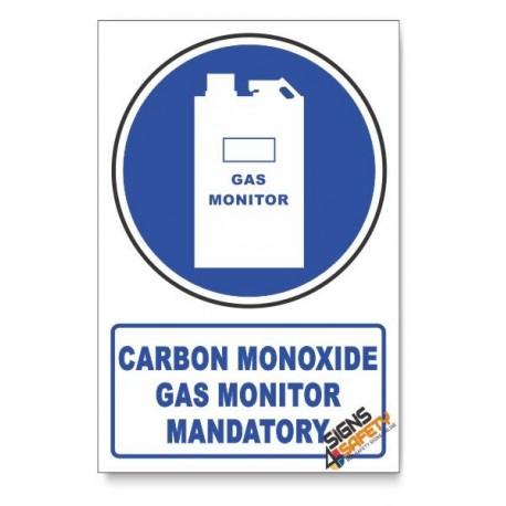 (MV17/D1) Carbon Monoxide Gas Monitor Mandatory, Descriptive Safety Sign