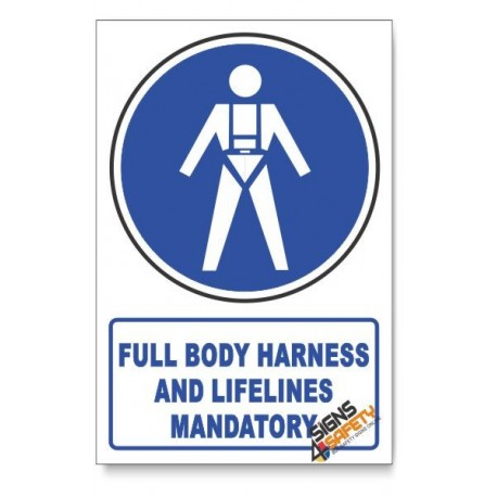 (MV18/D1) Full Body Harness / Lifelines Mandatory, Descriptive Safety Sign