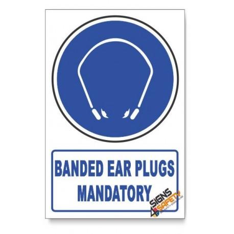 (MV19/D1) Banded Ear Plugs Mandatory, Descriptive Safety Sign