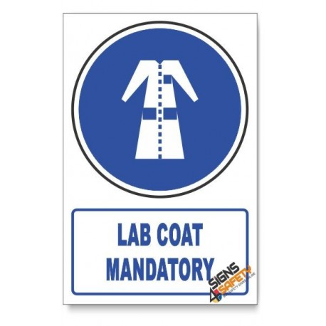 (MV21/D1) Lab Coat Mandatory, Descriptive Safety Sign