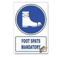 (MV22/D1) Foot Spats Mandatory, Descriptive Safety Sign